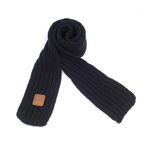 Kids Knitted Scarf Winter Fashion Solid Color Toddler Baby Scarves Wrap Neck Warmer Navy