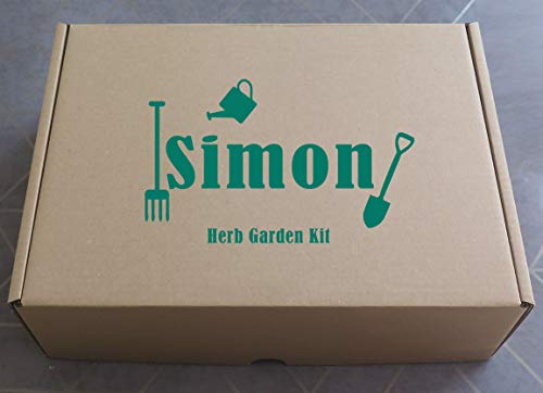 Personalised Herb Garden Kit Gift Box Set - Just add Soil! Grow Your Own Basil, Coriander & Rosemary - Indoor Windowsill Garden