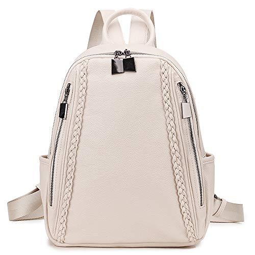 RAVUO Zaino Donna, Zaino in Pelle PU per le Signore Zainetto di Moda Casual da Viaggio Daypack Bianco