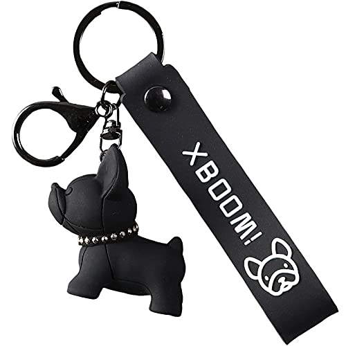 rickie_cao Llavero creativo de Bulldog de dibujos animados, llaveros de cuero PU para perros para mujer, bolso colgante, cartera para coche, bolso, llavero, accesorio