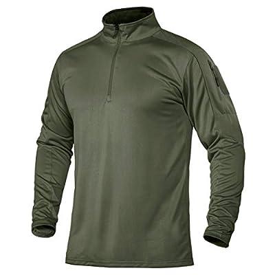 TACVASEN Men's Active Golf Polo Shirts 1/4 Zip Long Sleeve Quick Dry Workout Hiking Shirts Green L