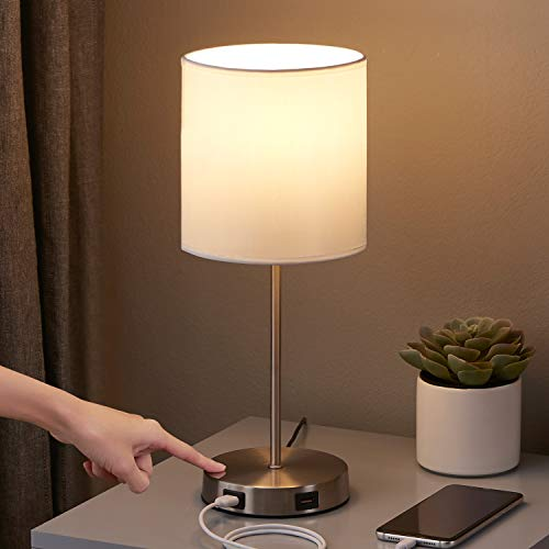 Touch Control Table Lamp, 3 Way Dimmable Small White Lamp with 2 USB Charging Ports, Bedroom Lamp for Nightstand, Bedroom, Living Room, Dining Room,Coffee Table (LED Bulb Included)