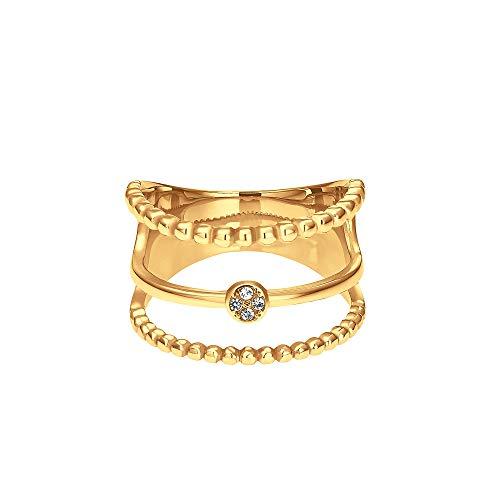 Heideman Ring Damen Unda aus Edelstahl Gold farbend matt Damenring für Frauen mit Swarovski Stein Zirkonia