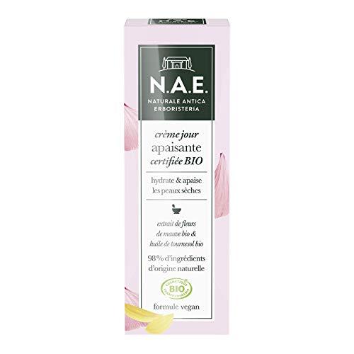 N.A.E. - Crème Apaisante Visage - Certifiée Bio - Peaux Sensibles - Extrait de Fleurs de Mauve Bio et Huile de Tournesol Bio - 98% d'ingrédients d'origine naturelle - Contenant de 50 ml