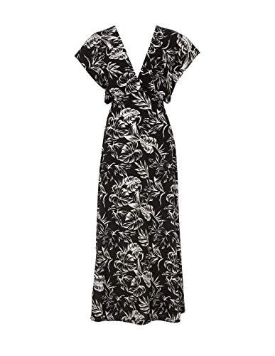 Tiffosi Vestido largo estampado hojas - XS/S, Negro