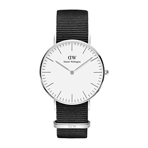 Daniel Wellington Classic Cornwall, Schwarz/Silber Uhr, 36mm, NATO, für Damen und Herren