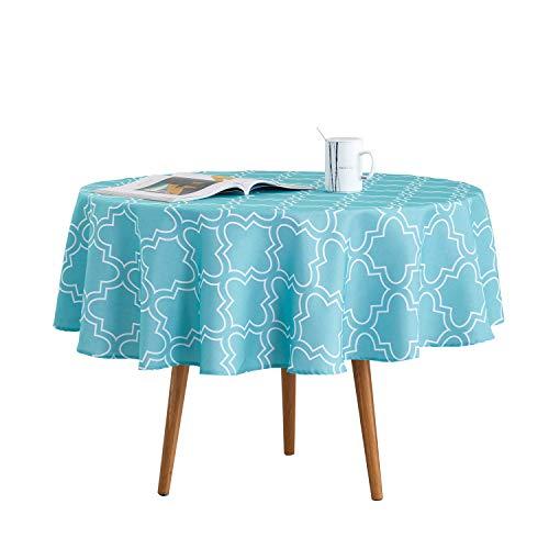Qucover Mantel Redondo 180cm Antimanchas Impermeable, Manteles Verde Azul para Comedor Cocina Casa Hotel Restaurante