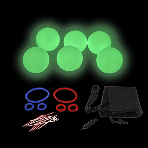 Rukket Dodgeball Set | Glow in The Dark Inflatable Playground Dodge Ball Gator Skin Game for Adults & Kids | Bouncy Kick, Foursquare, Handball Toy for Schools with Carry Bag & Air Pump