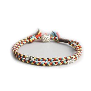 EXINOX Tibetanisches spirituelles Armband, verstellbar, für Herren und Damen, handgefertigt, buddhistisches Glücksarmband Braun, Gelb, Rot und Blau
