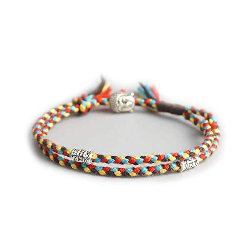 EXINOX Pulsera Espiritual Tibetana | Ajustable | Hombre Mujer | Pulsera Hecha a Mano | Bracelete Budista de la Suerte (Marron, Amarillo, Rojo y Azul)