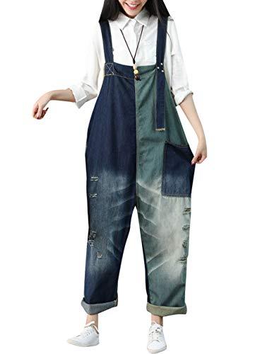 Youlee Damen Sommer Frühling Jahrgang Overalls Big Schrittgurt Overalls Latzhose Style 1 Blue