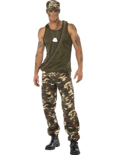 Smiffys Disfraz de Camuflaje Deluxe, Color Caqui, para Hombre, Incluye Camiseta y Pantal