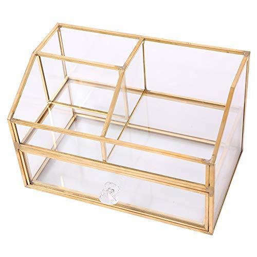 Storage Box Boîte de Rangement Cosmétique de Bureau, Étui a Cosmétiques en Verre Transparent Plateau Bijoux, Boîte de Rangement pour Produits Cosmétiques Empilable