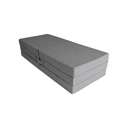 Ventadecolchones - Colchón Plegable con Cierre y Asa 120cm x 190cm x 10cm con Espuma en Densidad 25kg/m3 (extrafirme) en Loneta Premium Gris