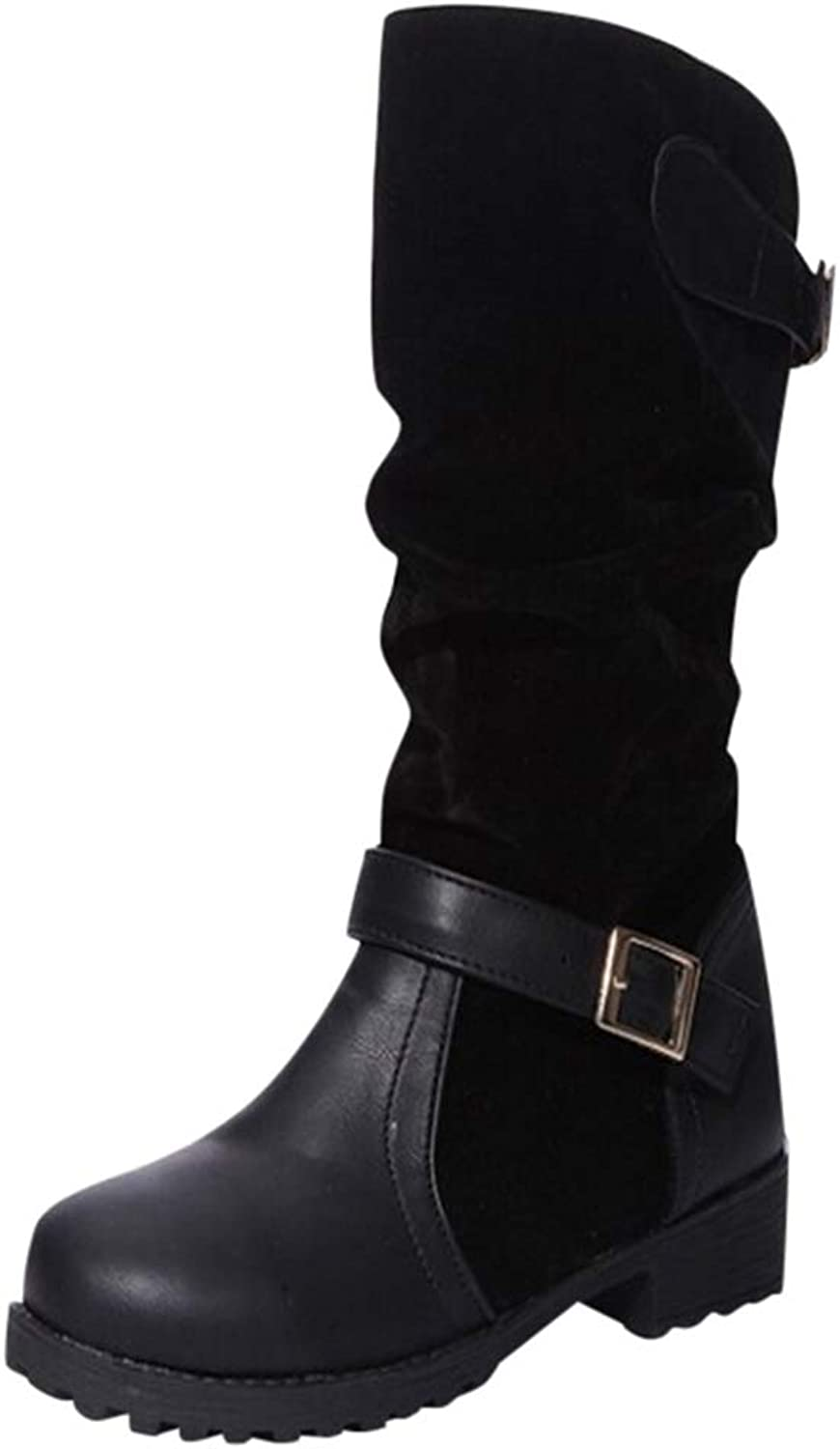 Hoxekle Woman Mid Calf Boots Buckle Slip On Low Square Heel Round Toe Pleated Female Antislip Winter Casual Boots