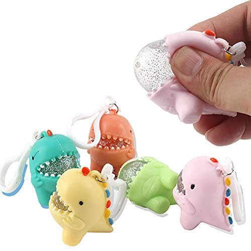 BTSEURY 4pcs juguetes sensoriales de dibujos animados dinosaurio llaveros juguetes de descompresión juguetes anti-estrés estrés estrés apretando juguetes mini Fidget juguetes para niños