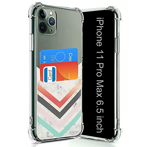 Wallet Slim Case Compatible for iPhone 11 Pro Max with Card Holder Slots Clear Protective Soft TPU Shockproof Case with PU Leather Card Sleeves for iPhone 11 Pro Max 6.5 Inch (2019) (Chevron Marble)