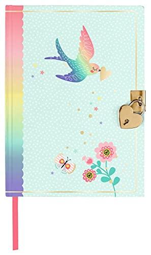 moses. 26254 Flowers & Friends Heart Bird - Diario para niños y adultos en bonitos tonos pastel, elegante cuaderno para cerrar en forma de corazón, colores pastel