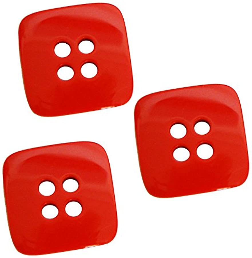 The Button Company 34 mm Polyester Bright Colour Square Button, Set of 3, Red