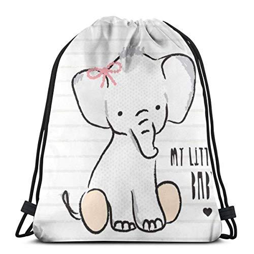 MOTALIN Mochila De Cuerda,Mochila Cordónes,Bolsas De Transporte Con Cordón,Bolsas Con Cordón De Gimnasio,Gráficos De Camiseta De Mi Pequeño Bebé Elefante