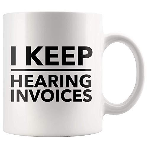 Jopath Taza divertida de cerámica con texto en inglés «I Keep Hearing Facvoics», de 325 ml, para auditor, agenda, asesor de libros de CPA, ideal para regalo, taza de té blanco de 12 onzas
