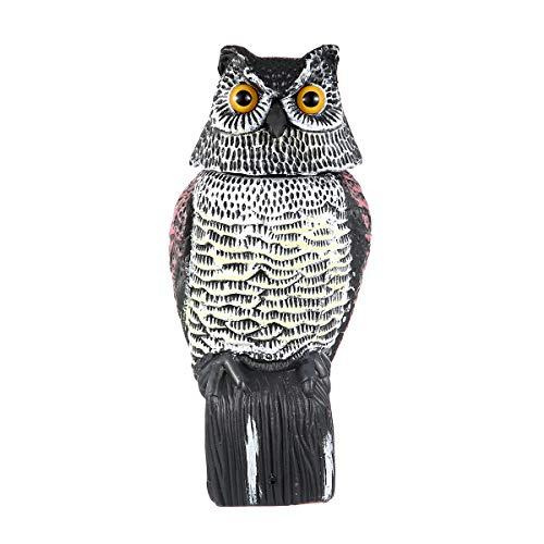 N /C Realistic Bird Scarer 360° Owl Prowler Decoy Hunting Decor Garden Yard Protection Pest Control Crow Scarecrow (Multicolor, OneSize)