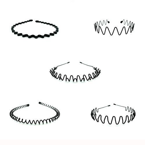 LIGICKY 5 Stück Unisex Haarreifen Feder Welle Haarband Aus Metal für Sport Fussball Laufsport Kopfschmuck Accessories, Schwarz
