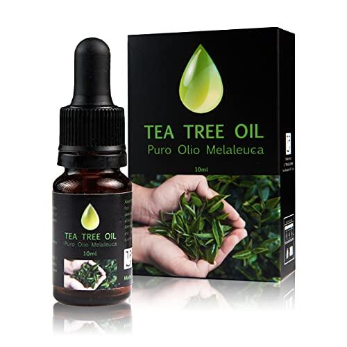 Tre Puri Tea Tree Oil Puro - Olio Essenziale di Melaleuca Biologico per Viso contro Acne e Brufoli 10 ml Made in Italy