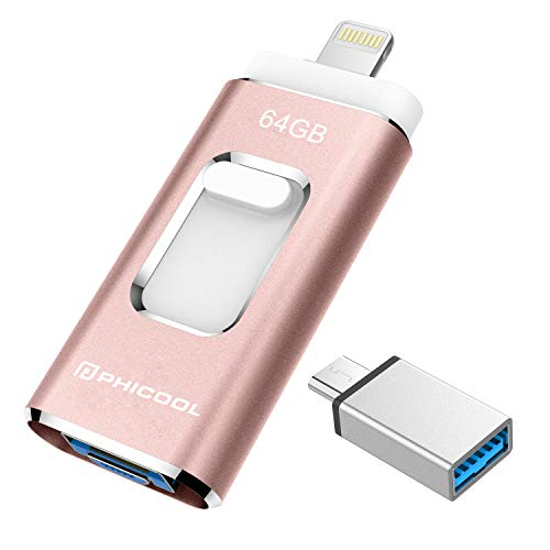 USB Stick 64GB Flash Speichererweiterung USB 3.0 Externer Speicherstick Flash Laufwerk Drive für Apple iOS iPhone iPod iPad Handy OTG USB C Android Computer Mac Laptop PC - Rosa