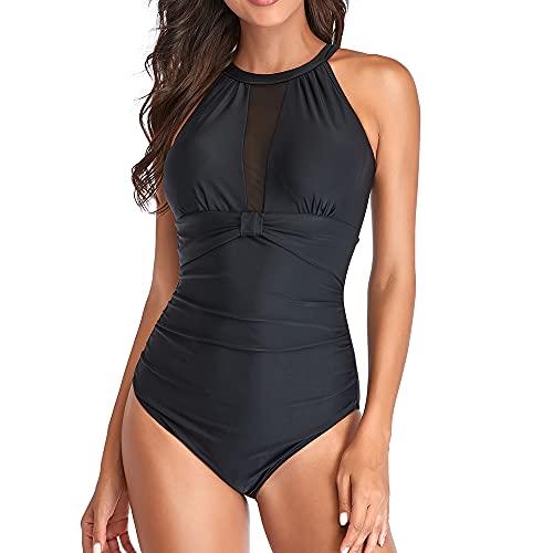 GIMDUMASA High Neck Bademode mit Zierausschnitt Raffung Bauchweg Damen Einteilige Badeanzug Strandmode für Frauen GI805(Schwarz,L)