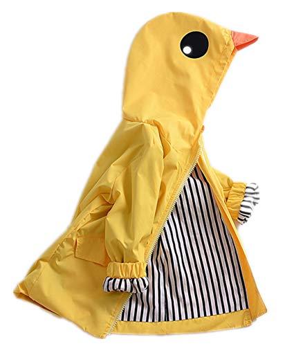 Toddler Boy Girl Raincoat Animal Duck Waterproof Windproof Hooded Rain Jacket Cute Jacket Outwear School Unisex Oufits (#1, 3T)