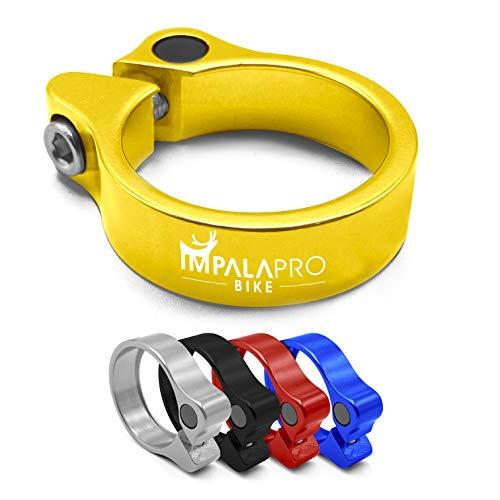 IMPALAPRO Bike Cierre sillín o Abrazadera tija sillín Bicicleta para Bici montaña (MTB) o Carretera Ultraligero y Resistente (Aluminio 7075 CNC - 31,8/34,9mm) (Dorado, 31,8mm/1.25in)