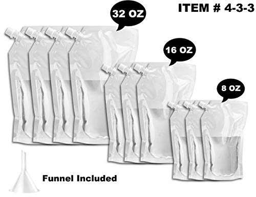 Flasks Liquor Cruise Pouch Reusable Sneak Alcohol Travel Drinking Flask Concealable Plastic Flasks bags with Funnel (433 FlaskKit)