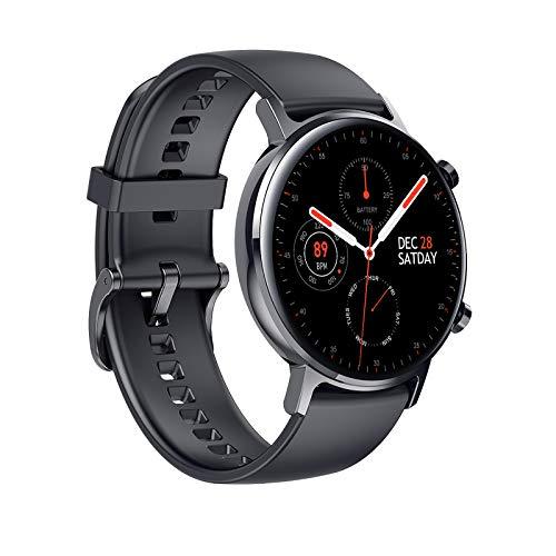 Reloj inteligente IP68 resistente al agua con monitor de ritmo cardíaco, presión arterial, podómetro, múltiples modos de deporte, reloj inteligente compatible con iOS, Android, color negro