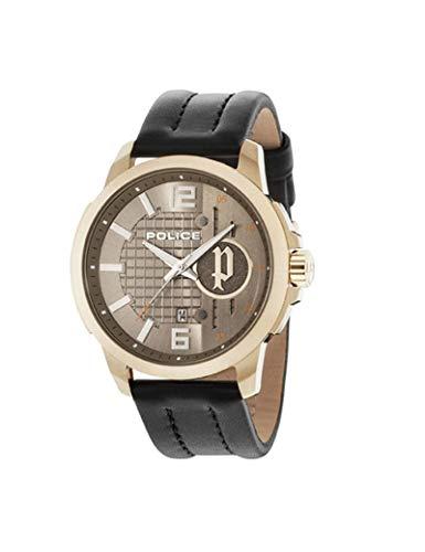 Police Herren Analog Quarz Uhr mit Leder Armband PL15238JSG.11