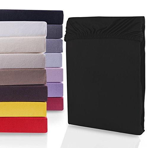 """#10 DecoKing Jersey Spannbettlaken, Spannbetttuch, Bettlaken, """"Nephrite Collection"""", 80x200 cm - 90x200 cm, Schwarz"""