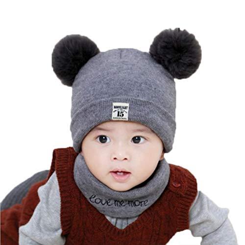 EFINNY Neugeborene Baby Mütze + Schal Sets Winter Warm Gestrickt Doppelt-Bommel Caps Mütze Hut