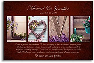 Love never fails -Personalized artwork with couple's names, wedding anniversary gifts, Valentine's day gifts 18x12