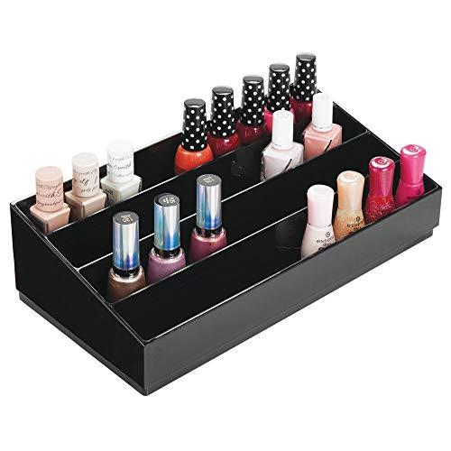 mDesign Organizador de cosméticos – Caja para cosméticos decorativa para guardar pintaúñas y polvos – Bandeja organizadora con 4 compartimentos para maquillaje – negro
