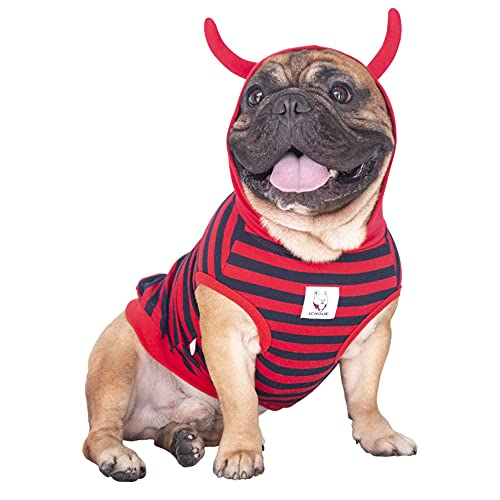 iChoue Little Devil Dog Halloween Costumes Hoodies Clothes for Medium Dogs Boy Girl for French Bulldog Cold Weather Winter Coats Hoodies Frenchie English Pug Pitbull Corgi Puppy - L