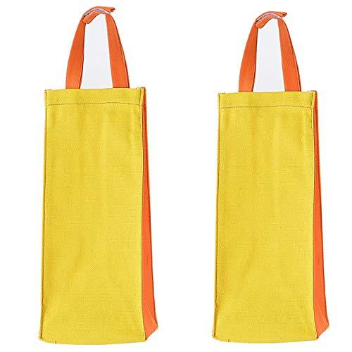 Kuai 2枚組 レジ袋ストッカー ポリ袋ストッカー ツートーン ごみ袋収納 キッチン収納 壁掛け 仕分け 買い物バッグ オレンジレモン (2)