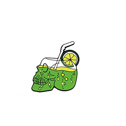 Verano jugo de limón bebida cráneo broches gótico esqueleto esmalte Pin mochila ropa botón alfileres de solapa insignias punk joyería regalos