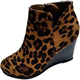 Women's Leopard Wedge Booties, Morecome Suede Side Zipper Boots Comfortable Chelsea Ankle Boots Brown