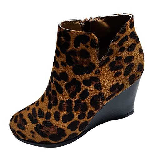 YWLINK Damen Wedge Stiefeletten Der Frauen Mode Leopard Stiefel Herbst FrüHling ReißVerschluss Schuhe MäDchen Wedges Ankle Zipper Short Boots(Braun,37 EU)