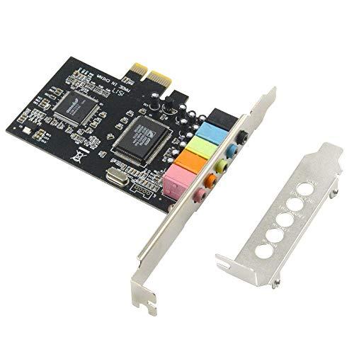 GODSHARK PCIe Sound Card, 5.1 Internal Sound Card for PC Windows 8 7 with Low Profile Bracket, 3D Stereo PCI-e Audio Card, CMI8738 Chip 32 64 Bit Sound Card PCI Express Adapter