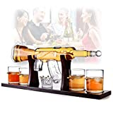 AK Rifle Decanter Set 800Ml Whisky Decanter Y Vasos Juego De Regalo Con 4 Vasos Grabados A Bala Decantador De Vino De Vidrio Botella De Vino Artesanal De Vidrio De Borosilicato