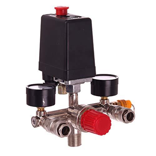 Druckregler Luftkompressor Schalter mit Schnellkupplungen Luftregler Druckschalter Kompressorschalter Kompressor Druckwächter