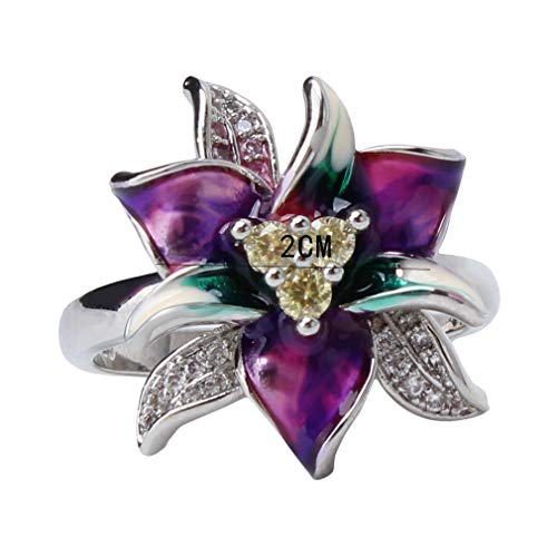 WEIHEEE Vintage Style Flower Ring Exquisite Vielseitige Epoxy Layered Petal Ring für Frauen Mädchen Täglich Zubehör Geschenke, 6