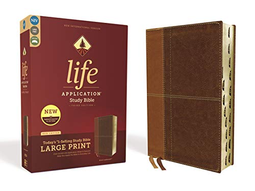 Compare Textbook Prices for NIV, Life Application Study Bible, Third Edition, Large Print, Leathersoft, Brown, Red Letter, Thumb Indexed Large type / Large print Edition ISBN 9780310452959 by Zondervan