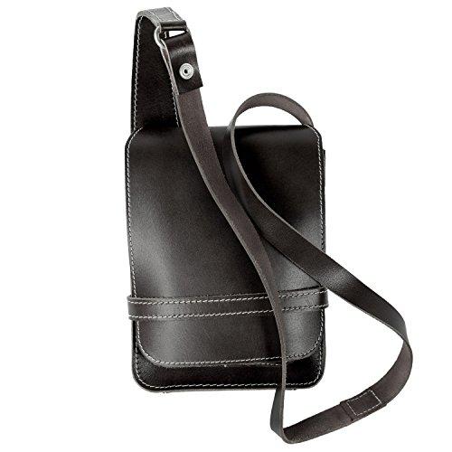 Jahn-Tasche Kleine Umhängetasche Schultertasche Größe S aus Echt-Leder, A5 Hochformat, Schwarz, 684